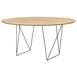 Jedálenský stôl v dekore dubového dreva s čiernym podnožím TemaHome Row, Ø150cm