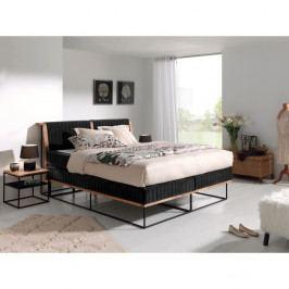 Čierna dvojlôžková bo×spring posteľ Sinkro Berlin Calling, 180 × 200 cm