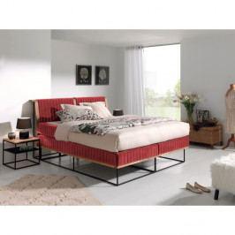 Červená dvojlôžková bo×spring posteľ Sinkro Berlin Calling, 180 × 200 cm