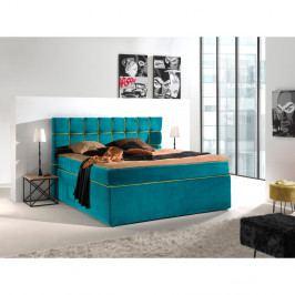 Tyrkysovožltá dvojlôžková bo×spring posteľ Sinkro Play Safe, 200 × 200 cm