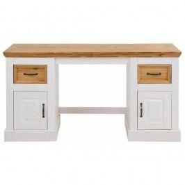 Biely písací stôl z masívneho borovicového dreva Støraa Suzie
