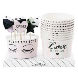 Sada 10 papierových kelímkov na zmrzlinu so zapichovacími dekoráciami Miss Étoile Eyes