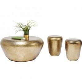 Sada 3 odkladacích stolíkov v zlatej farbe Kare Design Antico