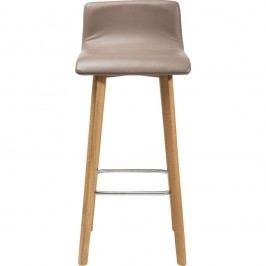 Sivá barová stolička s koženým čalúnením Kare Design Levi