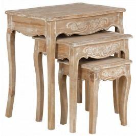 Sada 3 stolíkov z borovicového dreva Støraa Dior
