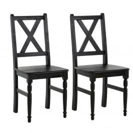 Sada 2 tmavohnedých jedálenských stoličiek z masívneho borovicového dreva Støraa Normann