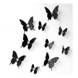 Sada 12 čiernych adhezívnych 3D samolepiek Ambiance Wall Butterflies