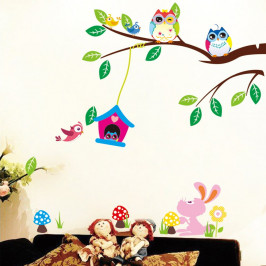 Sada samolepiek Fanastick Owls And Bird Cage On Tree