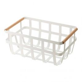 Biely košík s detailom z bukového dreva YAMAZAKI Tosca