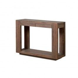 Konzolový stolík zmasívneho sivo moreného akáciového dreva s 2 zásuvkami Zara