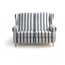 Modro-biela dvojmiestna pruhovaná pohovka Max Winzer Lorris