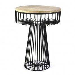 Čierny stolík s doskou zmangového dreva HF Living Spore