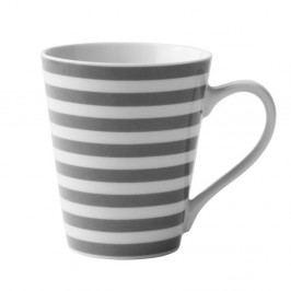 Sivo-biely porcelánový hrnček KJ Collection Striped, 300 ml