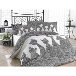 Sivé obliečky s plachtou na dvojlôžko z bavlneného popelínu Black, 200 × 220 cm