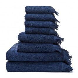 Set 8 modrých bavlnených uterákov aosušiek Casa Di Bassi Bath