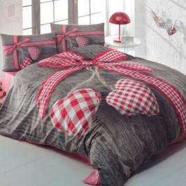 Bavlnené obliečky s plachtou na dvojlôžko Lovebox Red, 200 x 220 cm