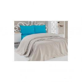 Bavlnená béžová prikrývka cez posteľ Pique Beige, 200×240 cm