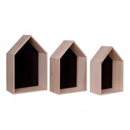 Sada 3 hnedých drevených políc House Nordic Verona