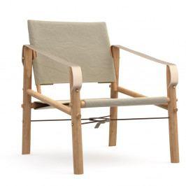 Béžové skladacie kreslo s konštrukciou z bambusu Moso We Do Wood Nomad