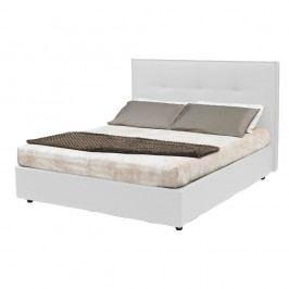 Biela dvojlôžková posteľ s úložným priestorom a poťahom z koženky 13Casa Zeus, 160 x 190 cm
