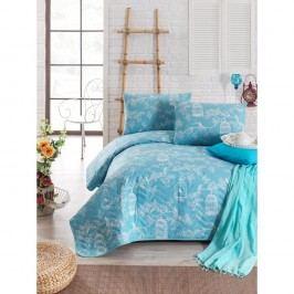 Modrý prešívaný ľahký pléd s obliečkou na vankúš Pretty, 160x220cm