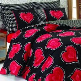 Bavlnené obliečky s plachtou na dvojlôžko Hearts, 200 x 220 cm