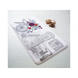 Sivá predložka do kúpeľne Confetti Bathmats Rose Basket, 80×140cm