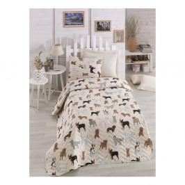 Krémový pléd na jednolôžko s obliečkou na vankúš Peritos, 160×220 cm
