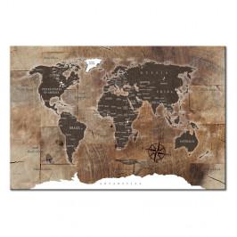 Nástenka s mapou sveta Artgeist Wooden Mosaic 120×80 cm