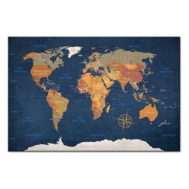 Nástenka s mapou sveta Artgeist Ink Oceans 90×60 cm