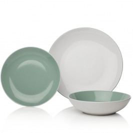 12-dielna zeleno-biela sada riadu z porcelánu Sabichi Tone