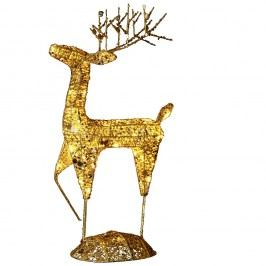 Svietiaca LED dekorácia Best Season Golden Deer, výška 68 cm