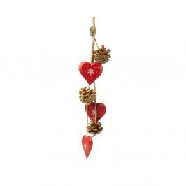 Závesná dekorácia Antic Line Red Hearts and Pinecones II