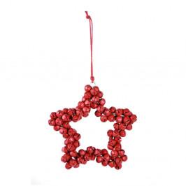 Červená závesná dekoratívna hviezda z kovových rolničiek Ego dekor Bells, výška 9,5 cm