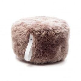Hnedý puf z ovčej kožušiny s bielym detailom Royal Dream, Ø 60 cm