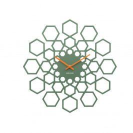 Zelené nástenné hodiny Karlsson Sunshine Hexagon