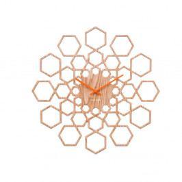 Nástenné hodiny ve drevenom dekore Karlsson Sunshine Hexagon