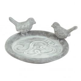 Sivé liatinové napájadlo s vtáčikmi Esschert Design