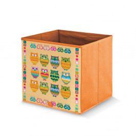 Oranžový úložný box Domopak Stamps, dĺžka 32 cm