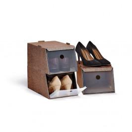 Sada 3 hnedých úložných boxov na obuv Domopak