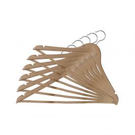 Sada 6 drevených vešiakov so zárezmi a nohavicovou tyčou Domopak Basic