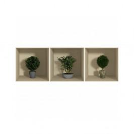Sada 3 samolepiek s 3D efektom Ambiance Small Bushes