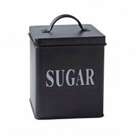 Čierna plechová dóza KJ Collection Sugar, 1,5 l