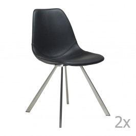 Sada 2 čiernych jedálenských stoličiek s oceľovou podnožou DAN– FORM Pitch