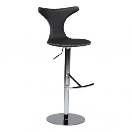 Čierna kožená barová stolička DAN–FORM Denmark Dolphin
