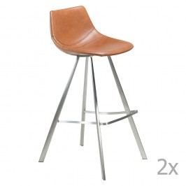 Sada 2 hnedých barových stoličiek s oceľovou podnožou DAN– FORM Pitch