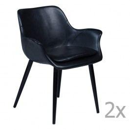 Sada 2 čiernych jedálenských stoličiek s opierkami DAN– FORM Combino