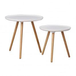 Sada 2 bielych dubových konferenčných stolíkov Folke Dellingr