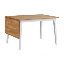 Prírodný sklápací dubový jedálenský stôl s bielymi nohami Folke Mimi, dĺžka120-165cm