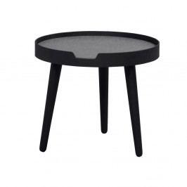 Čierny odkladací stolík s konštrukciou z jaseňového dreva Folke Wraith, ⌀ 45 cm